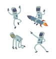 Set of cute astronauts in space working and vector image