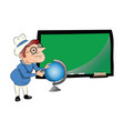 teacher with globe in front of chalkboard vector image