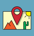 travel pin location on a global map flat icon vector image