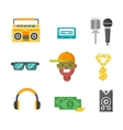 Hiphop music icons vector image