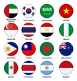 Set of round flags buttons - 3 vector image
