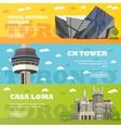 Toronto tourist landmark banners vector image