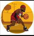basketball player dribbling the ball vector image