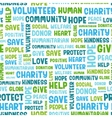 Charity word cloud concept vector image