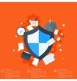 Flat shield icon Data protection concept Social vector image