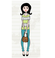 Hand drawn girl with a bag vector image