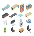 Office Furniture Isometric Icons Set vector image