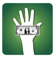 Palm with dollar bill vector image