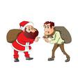 santa and burglar with sacks on their back vector image