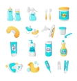 baby accessories icons Cartoon style vector image