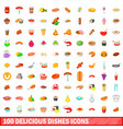 100 delicious dishes icons set cartoon style vector image
