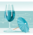 Glass of cold fresh water in hot day near ocean vector image vector image