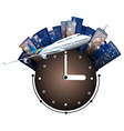 Airplane flying around the clock vector image