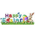 A happy easter greetings in the garden vector image