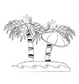palm tree and umbrella on beach vector image