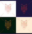 set of four fox head geometric lines silhouette vector image