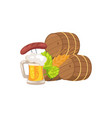 three beer barrels and snacks vector image