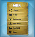 ui element and data icons on wood panel vector image
