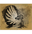 Skeleton with wings in the style of engraving vector image vector image