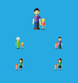 flat icon relatives set of grandma daugther son vector image