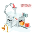 Cartoon robotic production of gift boxes vector image