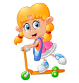 Cartoon girl playing scooter vector image