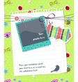 baby scrapbook card with photo frame vector image