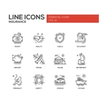 Types of Insurance - line design icons set vector image