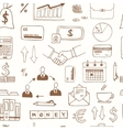Seamless pattern with doodle sketch business icons vector image