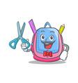 barber school bag character cartoon vector image