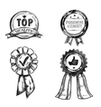 Drawing Quality Medal Emblem Set vector image