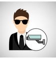 man cartoon digital technology security vector image