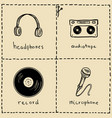 music equipment doodles set vector image