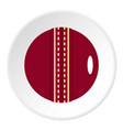 red leather cricket ball icon circle vector image