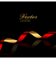 background with red gold ribbon vector image