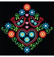 Folk art floral pattern on black vector image