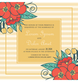 wedding card with red flowers vector image vector image