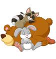 Cartoon happy animal sleeping isolated on white ba vector image vector image