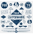 Design elements set and vintage catchword vector image