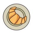 dish with delicious croissant vector image