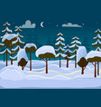 forest evening different trees covered with snow vector image