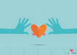 Hands holding heart Heart paper with ribbon vector image