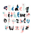 made with ink alphabet with floral elements vector image