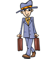 man with suitcases cartoon vector image
