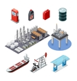 Oil Industry Isometric Icons Set vector image