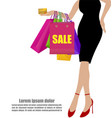 Woman hand in black dresses with colorful vector image