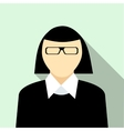 Woman with glasses in black pullover icon vector image