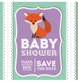 fox animal baby shower card icon vector image