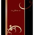 Red gold and black vintage menu cover design vector image vector image