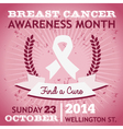 Breast Cancer Ribbon Awareness Poster vector image